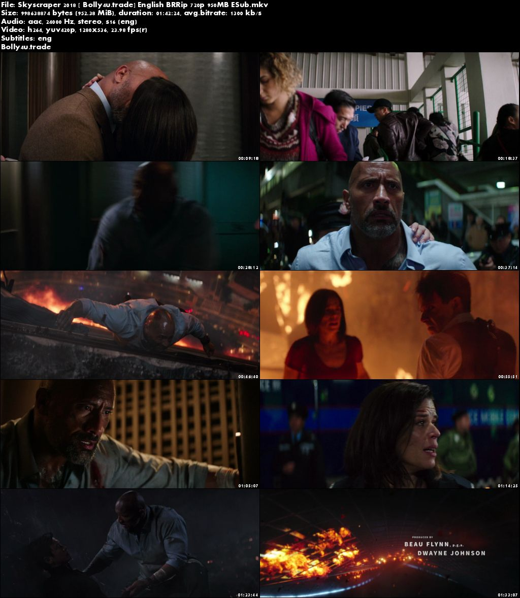Skyscraper 2018 BRRip 300Mb Full English Movie Download 480p ESub