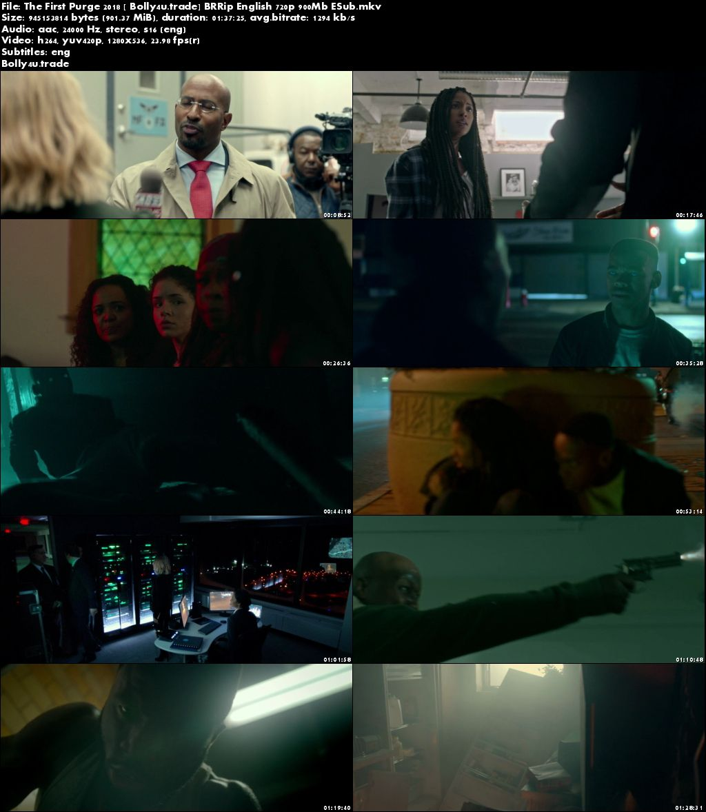 The First Purge 2018 BRRip 900MB English 720p ESub Download