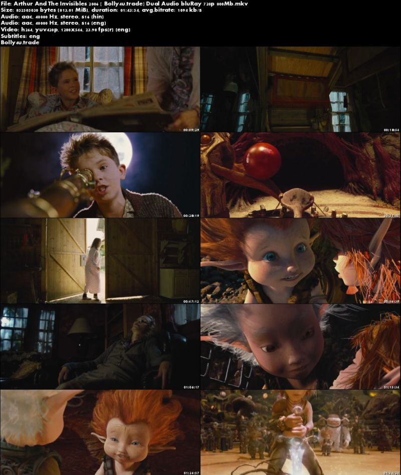 Arthur And The Invisibles 2006 BRRip 800Mb Hindi Dual Audio 720p Download
