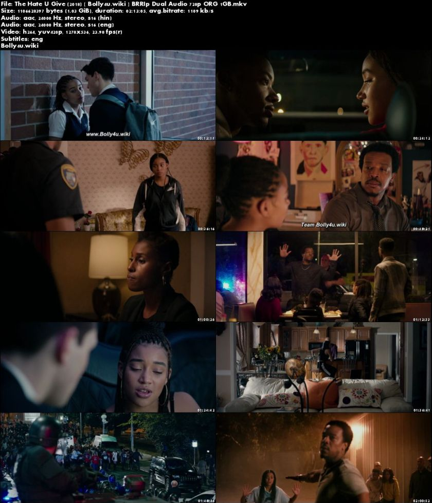 The Hate U Give 2018 BRRip 1GB Hindi Dual Audio ORG 720p ESub Download
