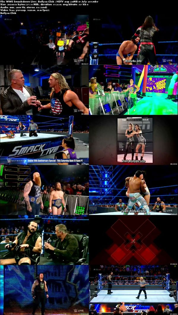 WWE Smackdown Live HDTV 480p 250MB 09 July 2019 Download