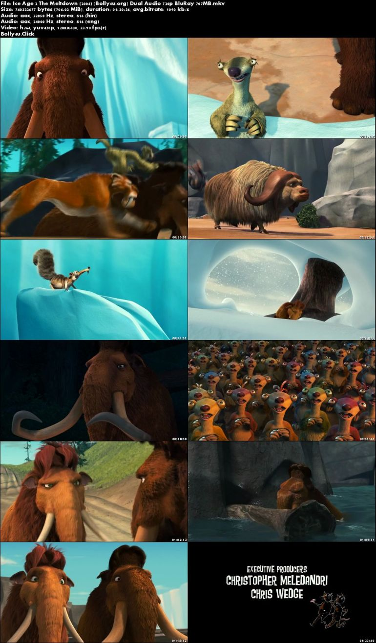 Ice Age 2 The Meltdown 2006 BRRip 300MB Hindi Dual Audio 480p Download