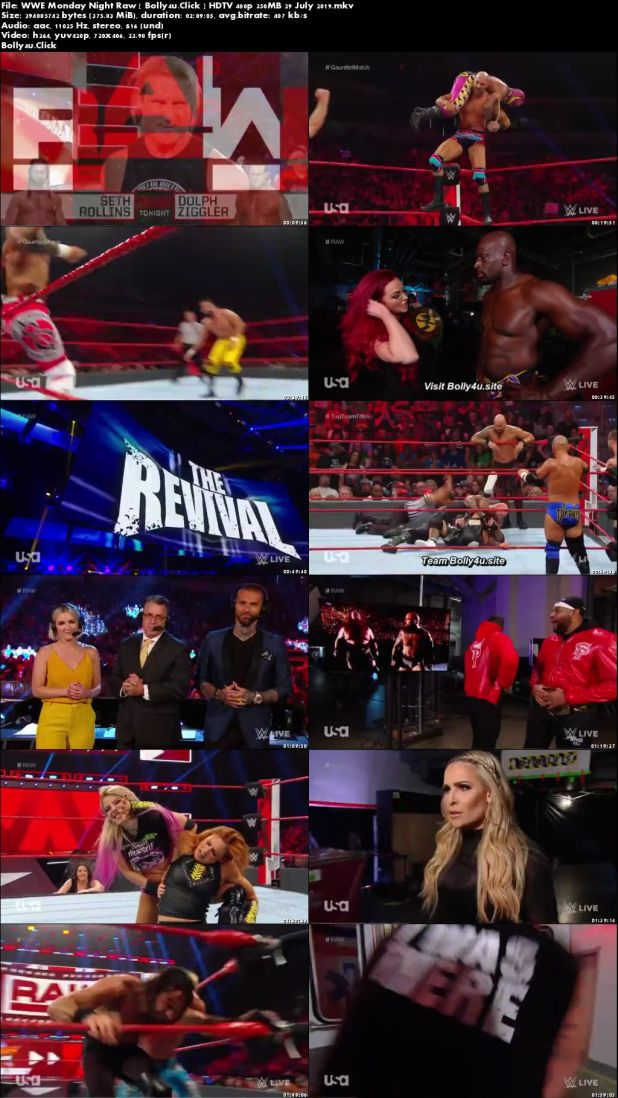 WWE Monday Night Raw HDTV 480p 350MB 29 July 2019 Download