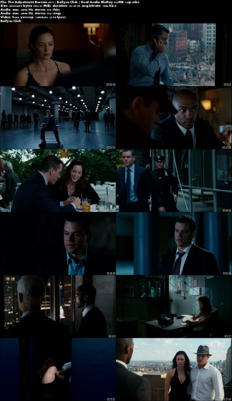 The Adjustment Bureau 2011 BluRay 300MB Hindi Dual Audio 480p Download