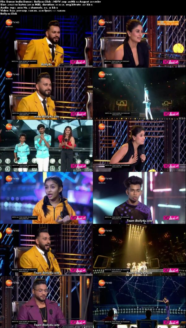 Dance India Dance HDTV 480p 200Mb 04 August 2019 Download