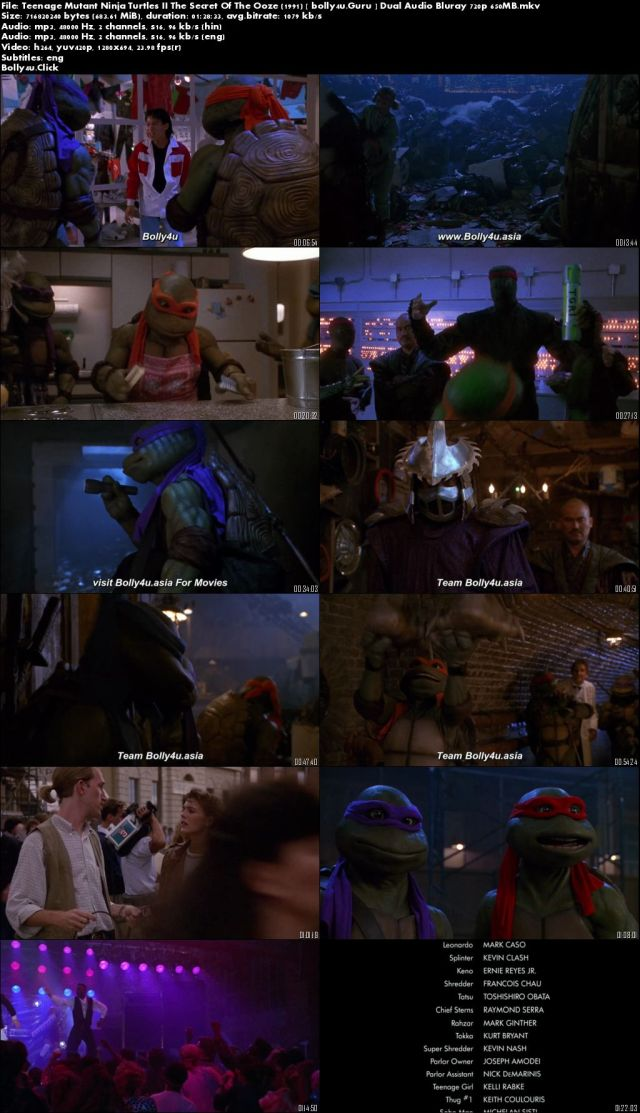 Teenage Mutant Ninja Turtles II The Secret Of The Ooze 1991 BRRip 650MB Hindi Dual Audio 720p Download