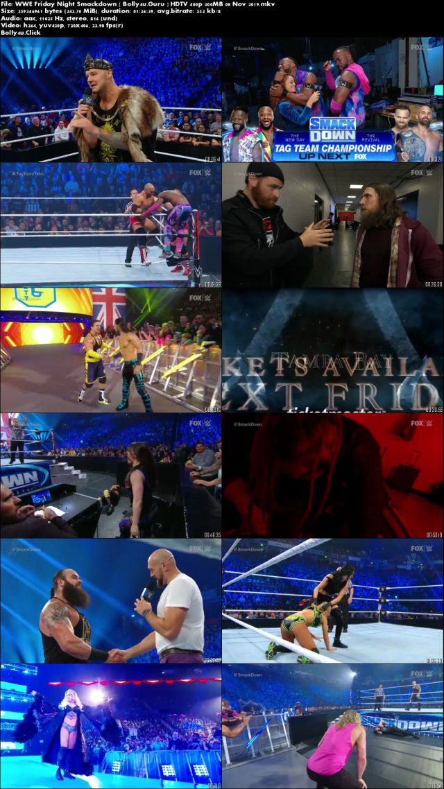 WWE Friday Night Smackdown HDTV 480p 300MB 08 November 2019 Download