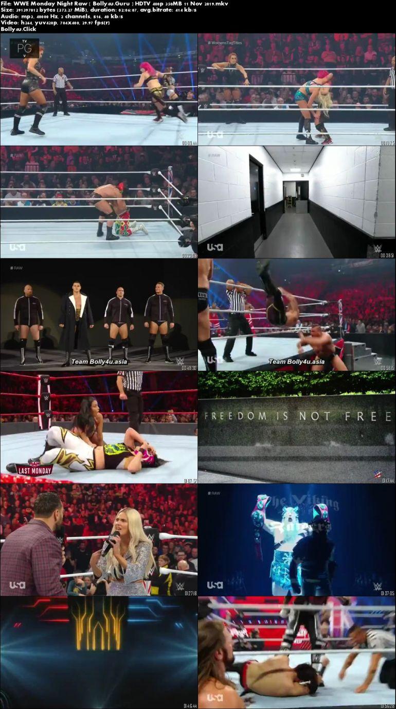 WWE Monday Night Raw HDTV 480p 350MB 11 November 2019 Download