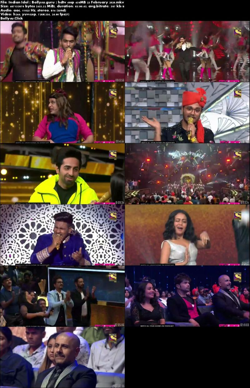 Indian Idol HDTV 480p 650MB Grand Finale 23 February 2020 Download