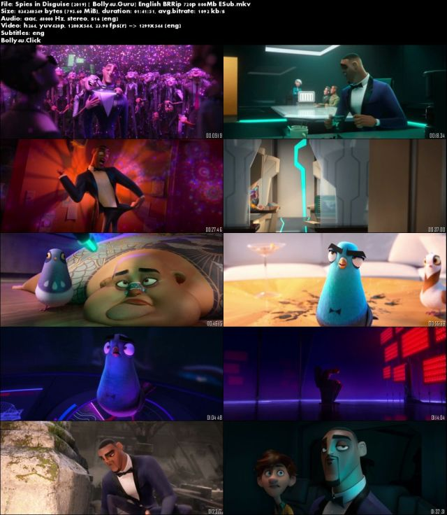 Spies in Disguise 2019 BRRip 300MB English 480p ESub Download
