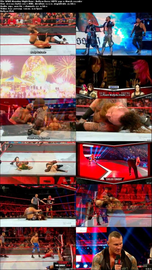 WWE Monday Night Raw HDTV 450MB 480p 03 March 2020 Download