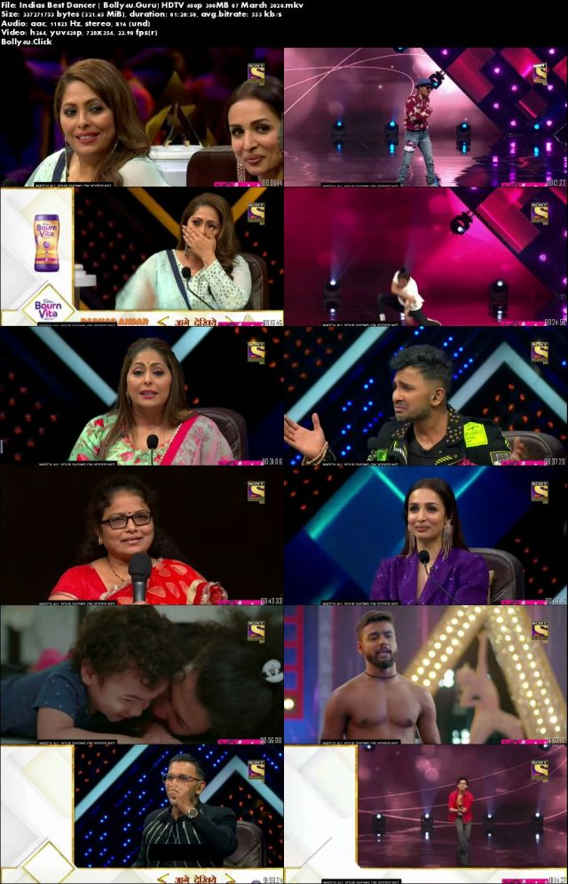Indias Best Dancer HDTV 480p 300MB 07 March 2020 Download