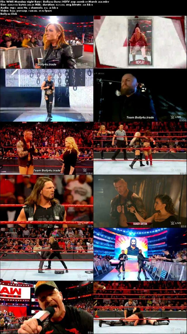 WWE Monday Night Raw HDTV 480p 400mb 09 March 2020 Download