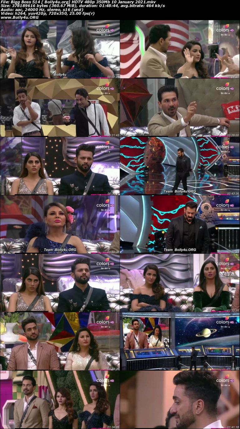 Bigg Boss S14 HDTV 480p 350Mb 10 January 2021 download