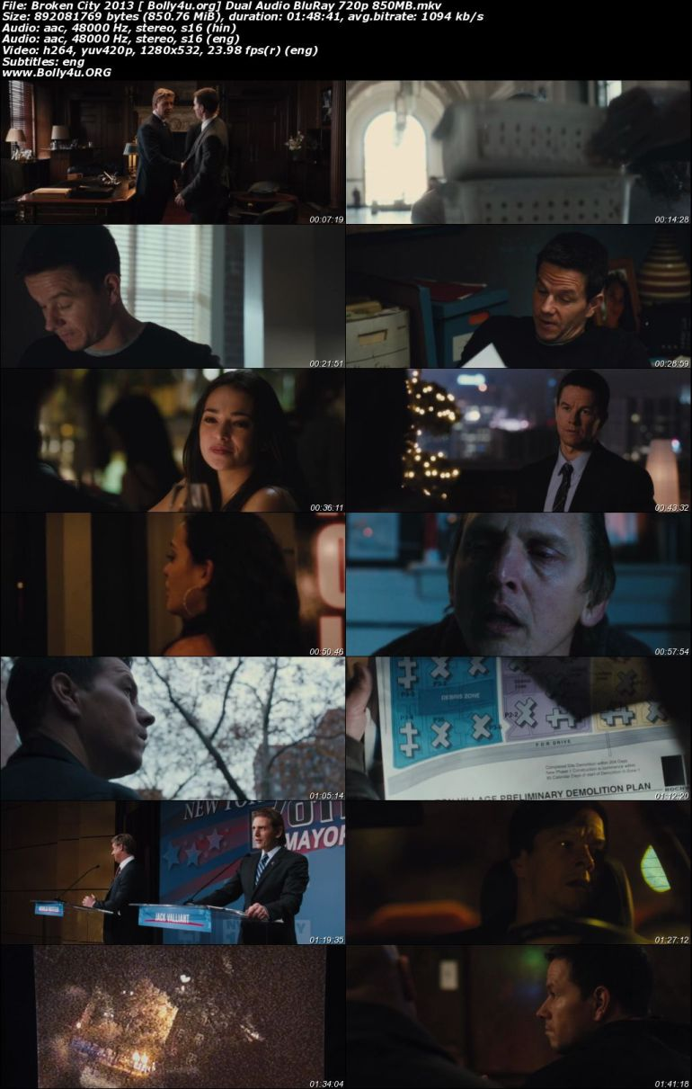 Broken City 2013 BRRip 350Mb Hindi Dual Audio 480p ESub Download