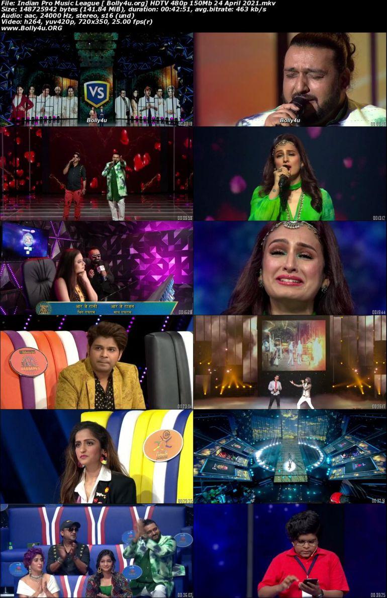 Indian Pro Music League HDTV 480p 150Mb 24 April 2021 Download
