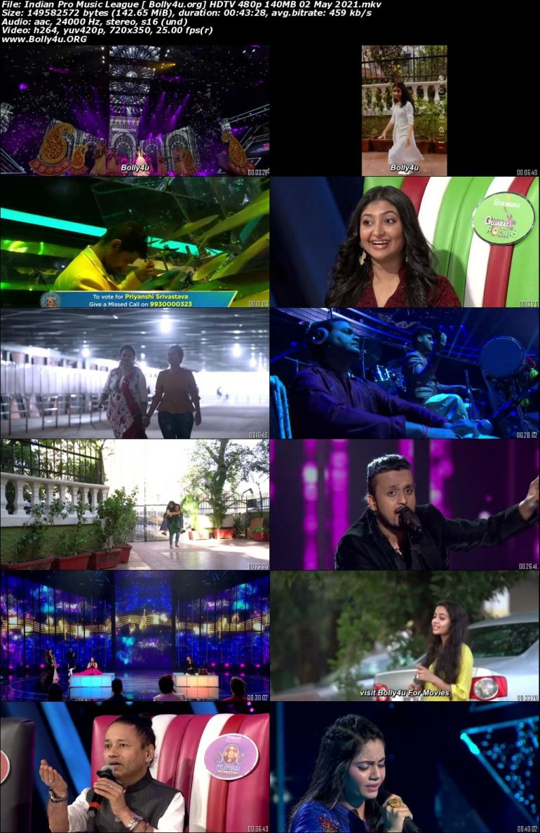 Indian Pro Music League HDTV 480p 140MB 02 May 2021 Download