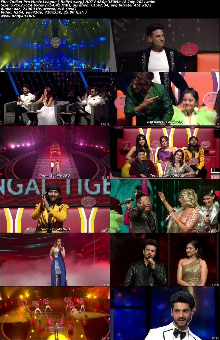 Indian Pro Music League HDTV 480p 350Mb 18 July 2021 Download