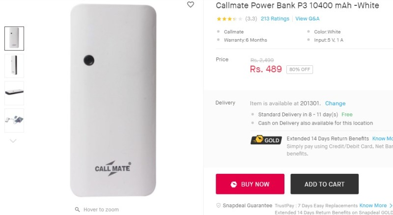 fb361dab2 Callmate Power Banks P3 10400 mAh -White   Rs 489.-Snapdeal