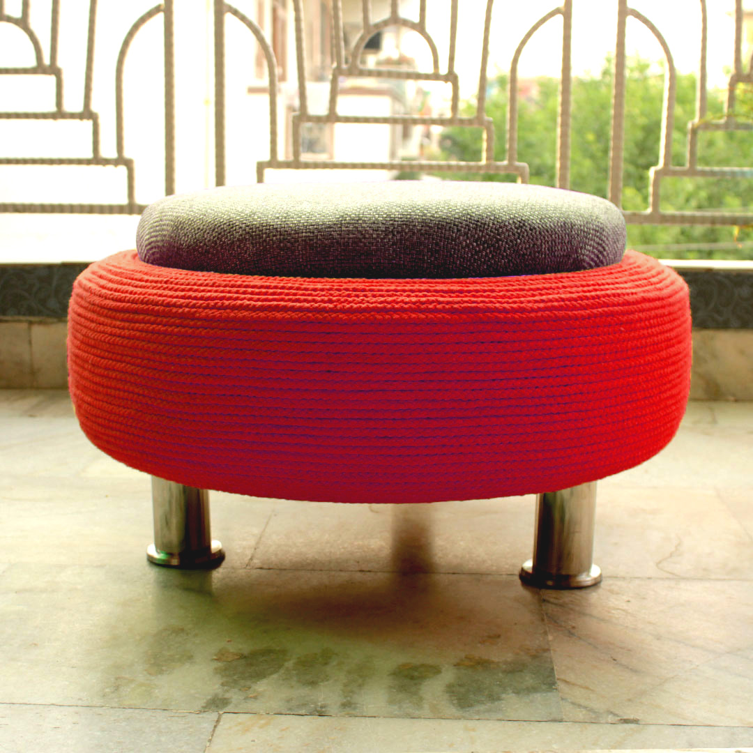 Ottoman Pouffe For Living Room With Storage Red Grey Large