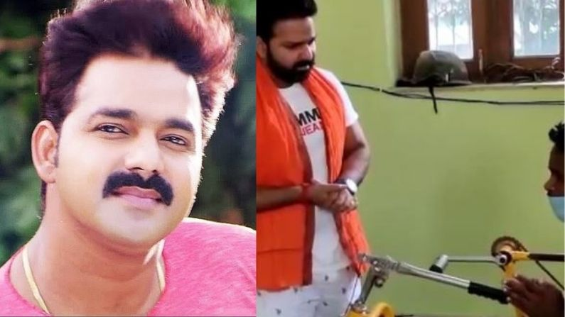 Video: Pawan Singh got his Jabra fan, reached the actor's house by driving a wheel chair rickshaw, hundreds of kilometers away