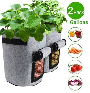 TQQFUN 2 Pack 7 Gallon Smart Potato Bags Velcro Window Vegetable Bags, Double Layer Premium Breathable Nonwoven Cloth for Potato/Aeration Fabric Pots with Handles(Gray)