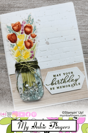 30 Cards in 30 Days My Inkie Fingers Day 2 Jar of Flowers