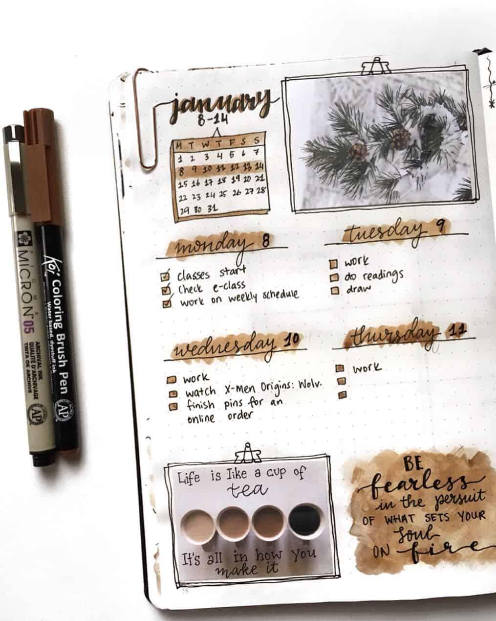coffee bullet journal layout spread ideas
