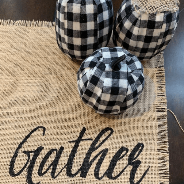 black and white checkered mini pumpkins as halloween decorations diy project