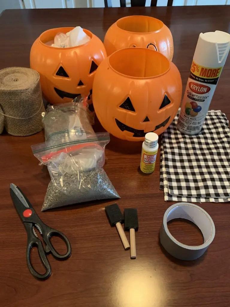 supplies for plaid fabric covered pumpkin