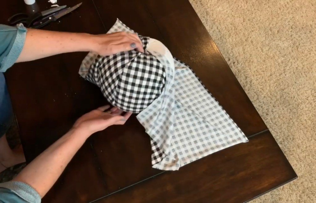 Wrapping fabric around fabric covered pumpkins