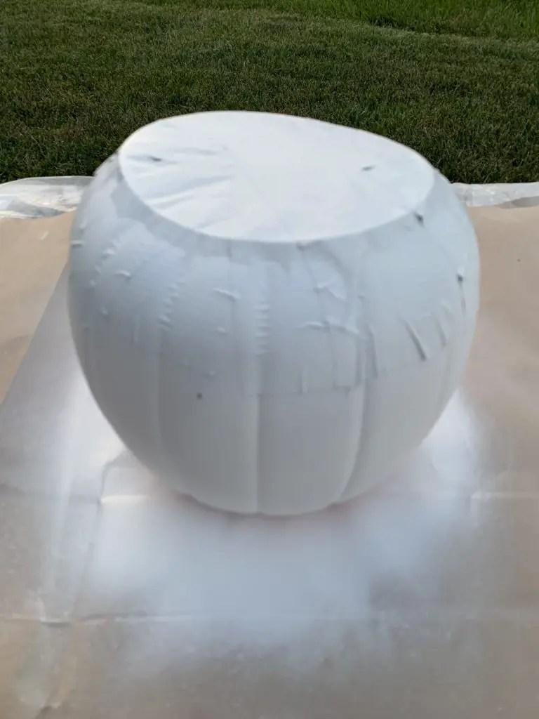 plastic pumpkins makeover to fabric covered pumpkins