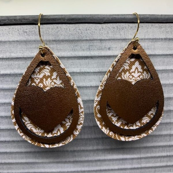 faux leather Valentine's Day Earrings, made on Cricut Explore with genuine leather