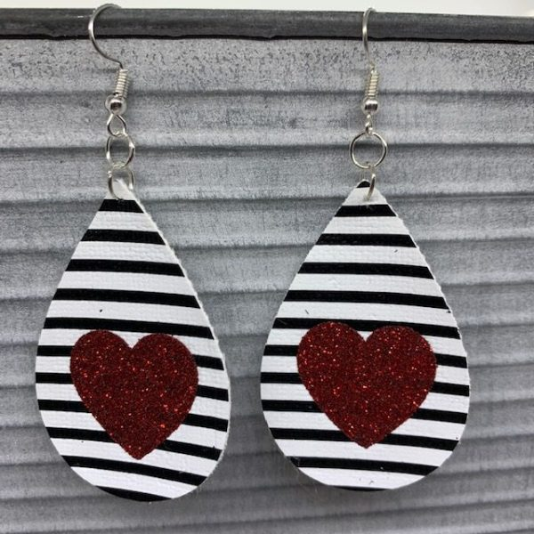 faux leather Valentine's earrings