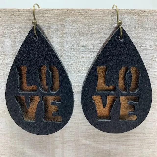 Love leather earrings diy, made on a Cricut machine