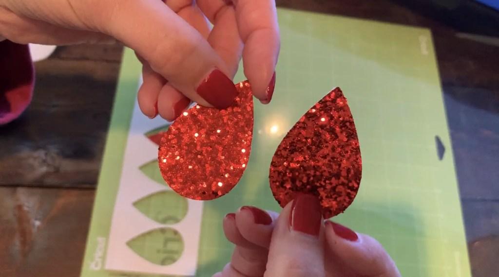 red glitter faux leather earrings