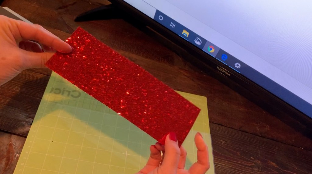 red glitter faux leather