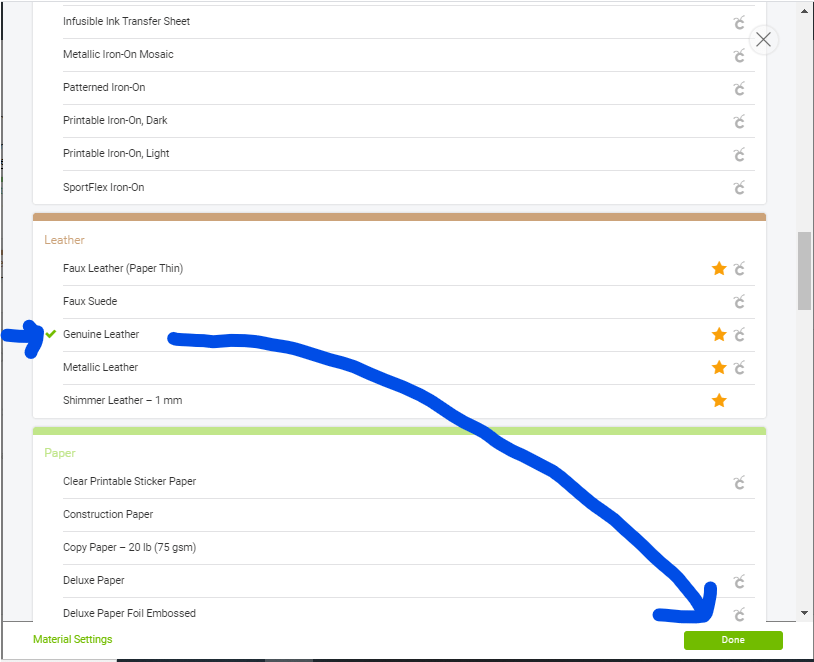 Selecting a material from the Browse all materials menu on Cricut Design Space for your Cricut machine