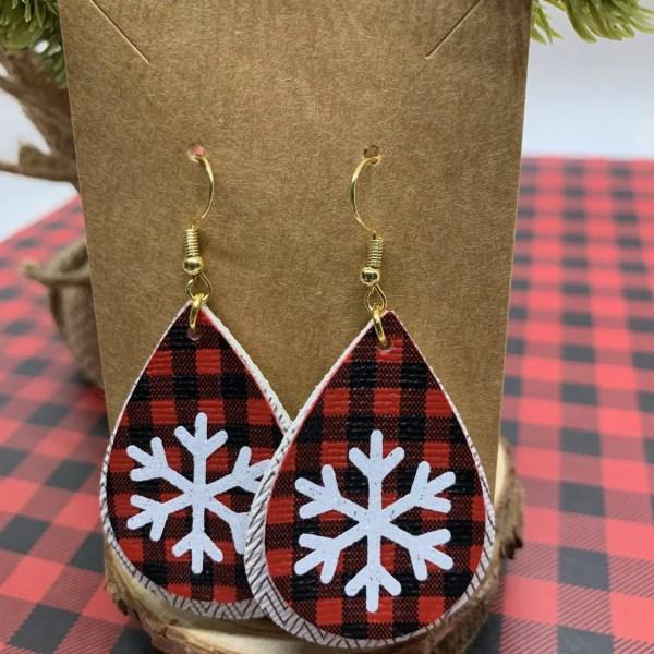 faux leather snowflake earrings with mini buffalo plaid faux leather