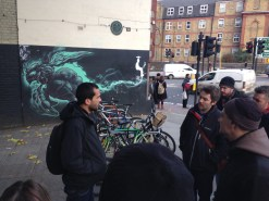 Karim starting the street art tour