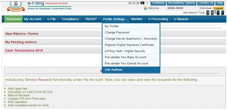Method-3 of How to link Aadhaar Card and PAN Card in India when ITR filing