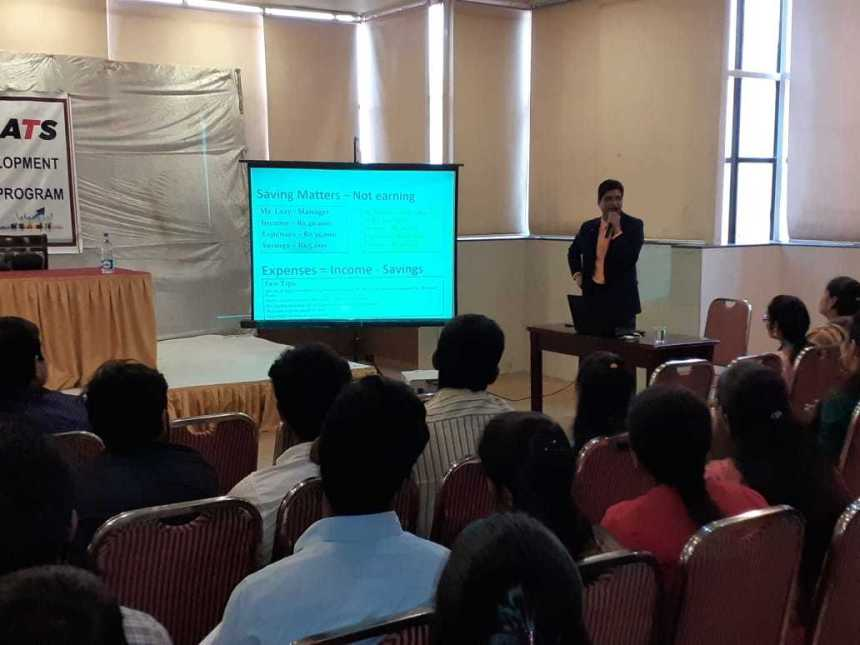 Suresh KP talking at T&AS seminar about savings matter and not earnings