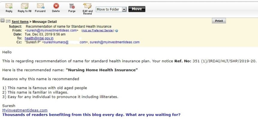 Standard Health Insurance Plan - Name recommendation by suresh kp - myinvestmentideas