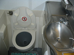 Travelling with Invisalign - image of plane toilet