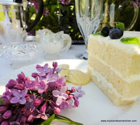 Tea cake for afternoon tea in front of the lilac tree
