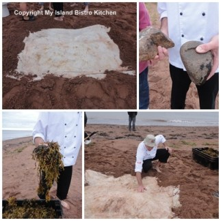 Preparing the Cooking Pit in the Sand for the Lobster and Corn