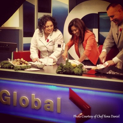 Shucking lobsters live on Global BC Morning Show