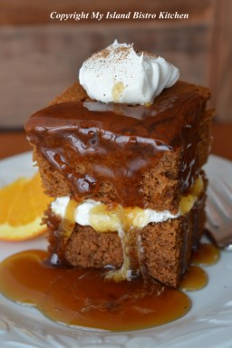 Gingerbread with Whipped Cream and Brown Sugar Sauce