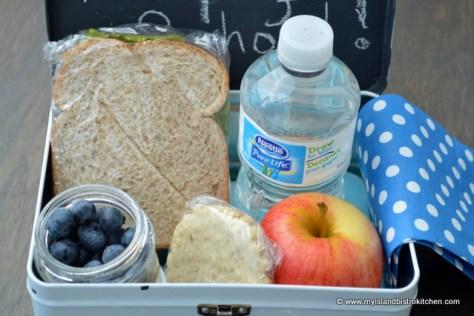 School Lunch: Tuna Salad Sandwich, Apple, Blueberries, and an Oatcake