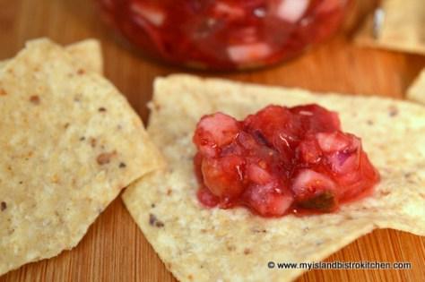 Chunky Cranberry Salsa on Nachos